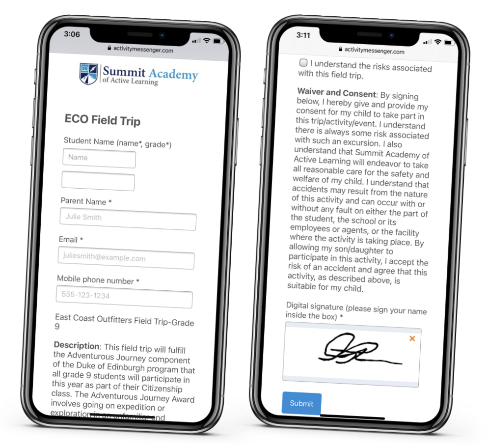 A parent fills in a school trip form with electronic signature using their smartphone on Activity Messenger