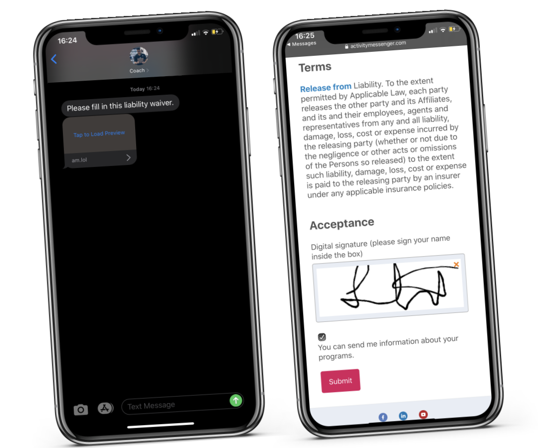 Activity Messenger waivers with electronic signature