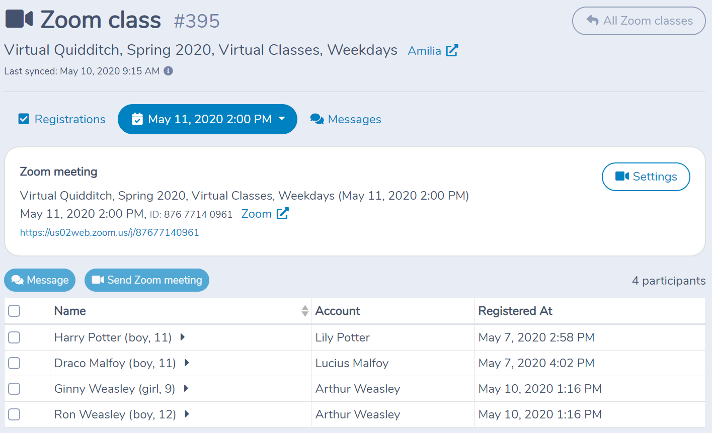 Running a Zoom class with Activity Messenger