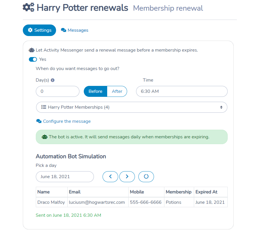Automate membership renewal reminders with Activity Messenger