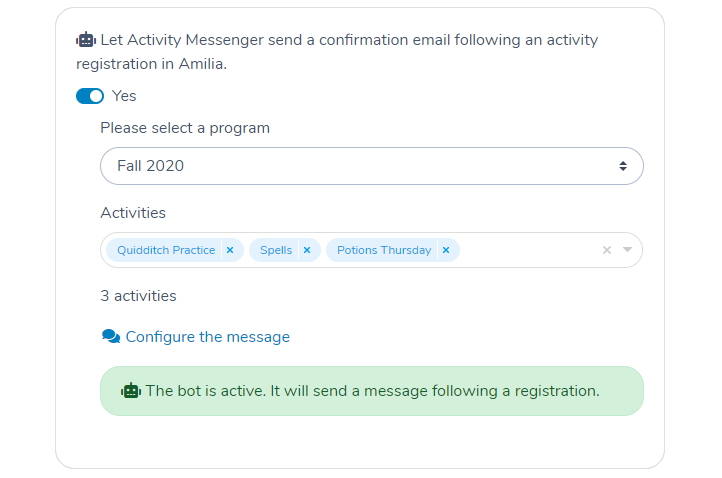 Configuring the Activity Messenger Automation Bot to send a registration email following after someone registeres to an activity in Amilia