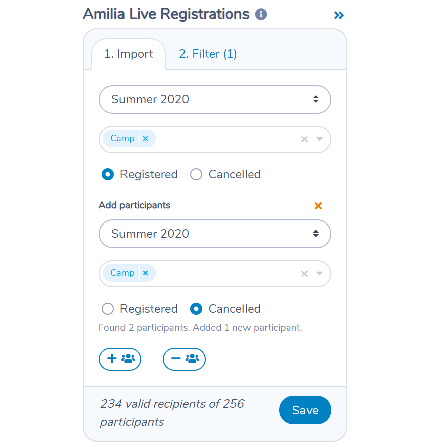 Combine registered participants and cancelled registrations from Amilia using Activity Messenger