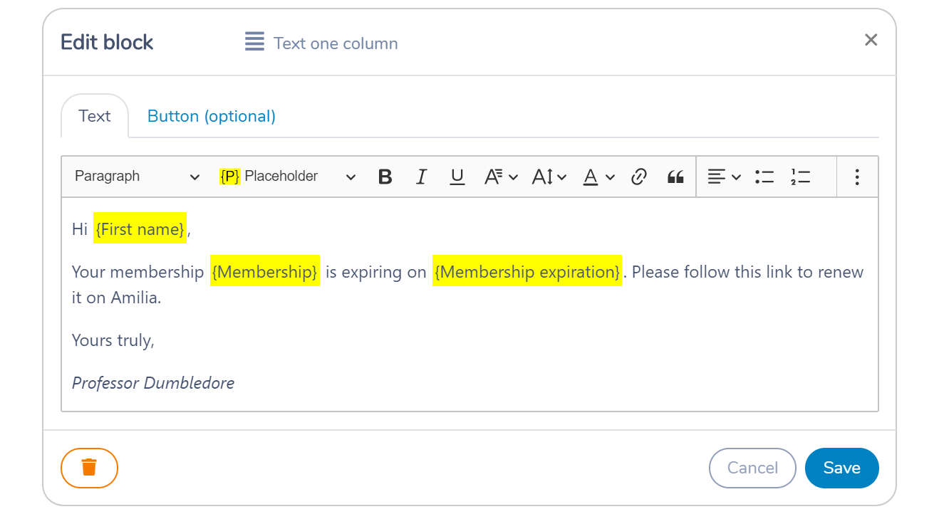 An HTML template message to email/SMS membership renewal using placeholders in Activity Messenger