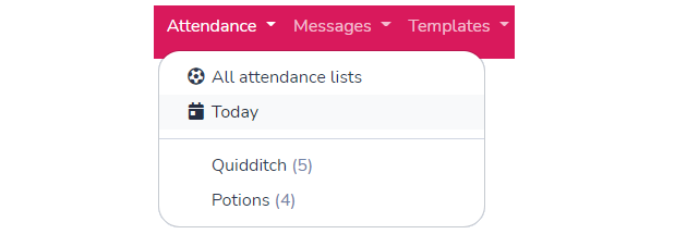 Attendance today menu in Activity Messenger