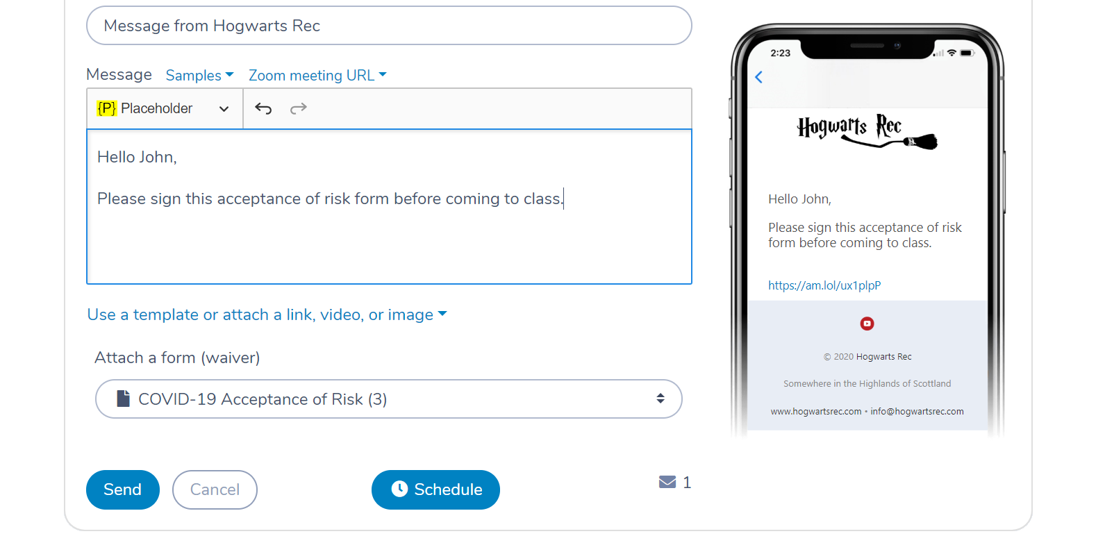 Attach a waiver form to an email or text message with Activity Messenger