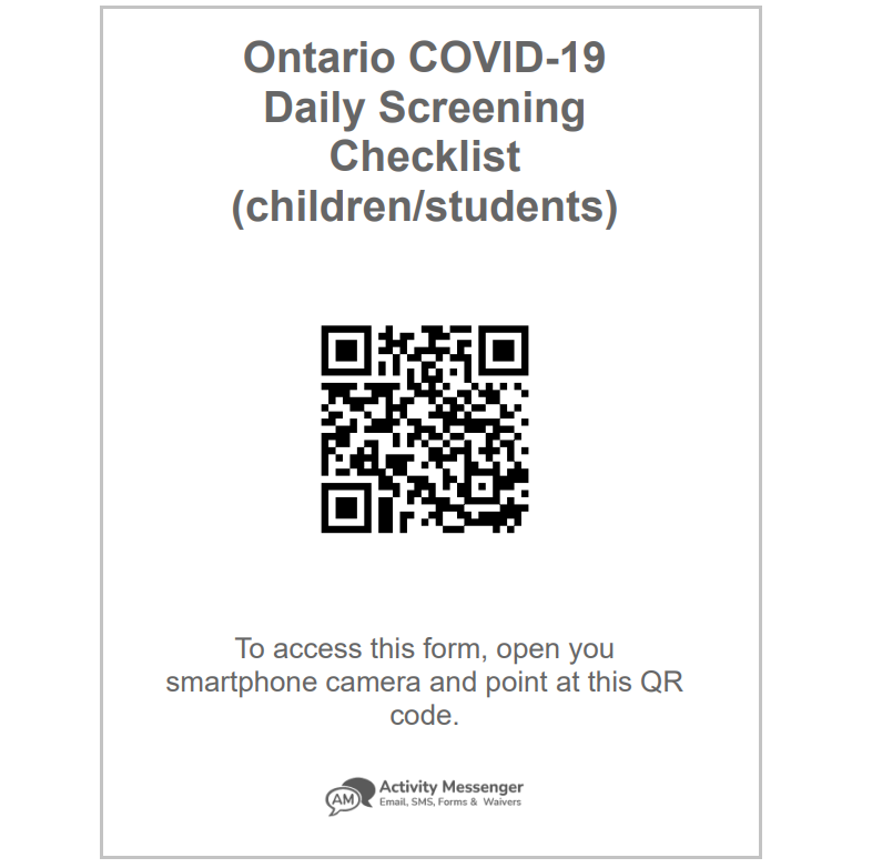 With Activity Messenger you can print the QR code of a COVID form and post it near the entrance of your class