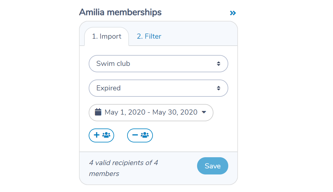 Selecting a membership from Amilia to import members and expiration dates