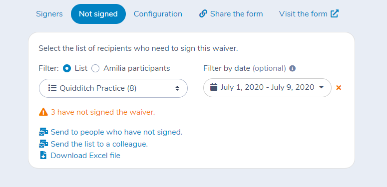 Filtering participants to find who has not signed a waiver using Activity Messenger