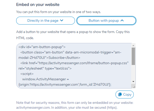 Embedding an Activity Messenger form on your website using a button with popup