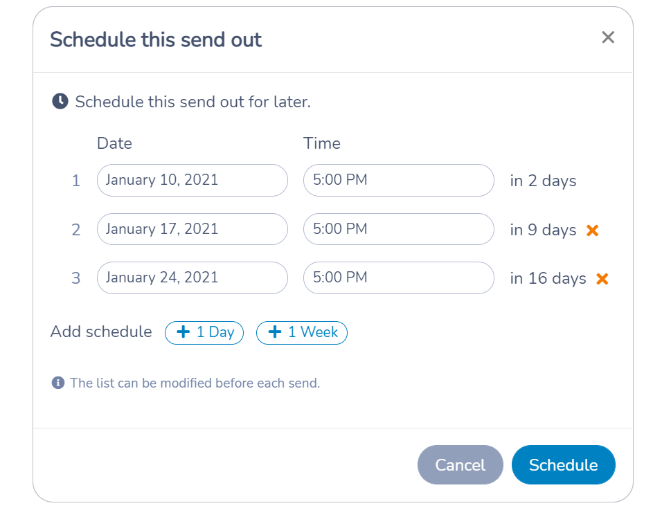 Scheduling a recurring email or SMS using Activity Messenger