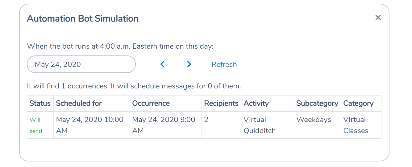 Simulation when the Activity Messenger bot will send Zoom class reminders on a given day