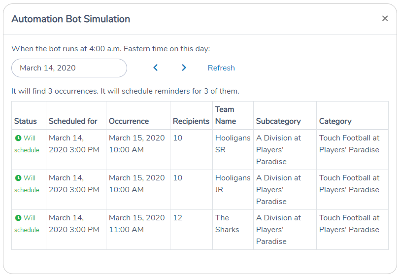 Simulate what reminders the Automation Bot schedule on a given day in Activity Messenger