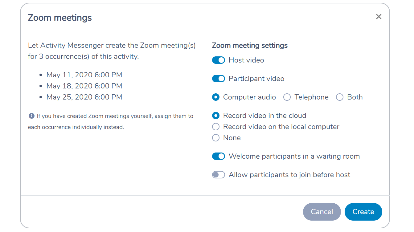 Automatically creating Zoom meetings from the schedule of an Amilia activity in Activity Messenger