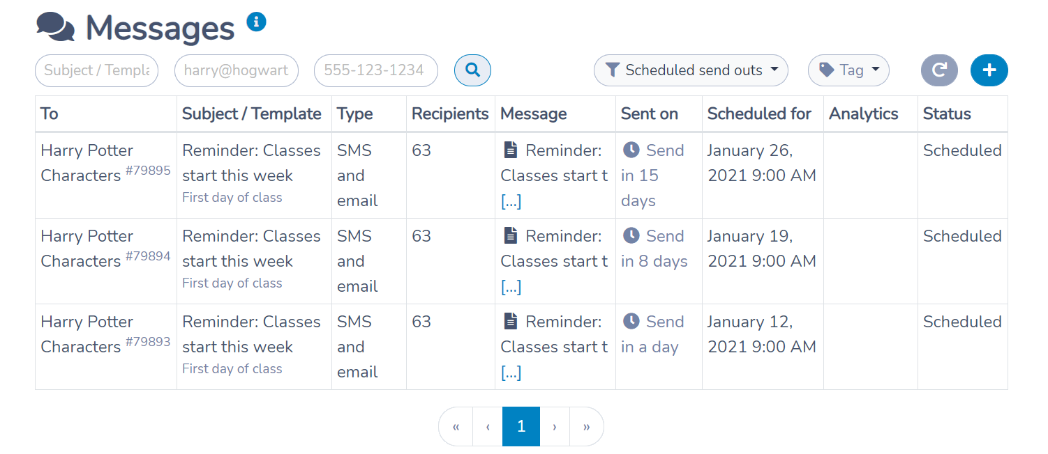 Listing scheduled messages in Activity Messenger