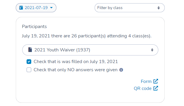 Summary of participants attending your classes or camps today using Activity Messenger