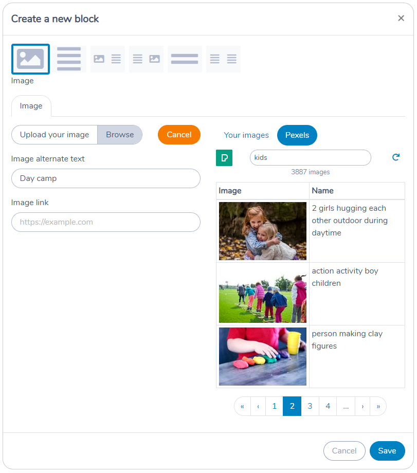 Inserting a stock photo from Pexels in a Template using Activity Messenger