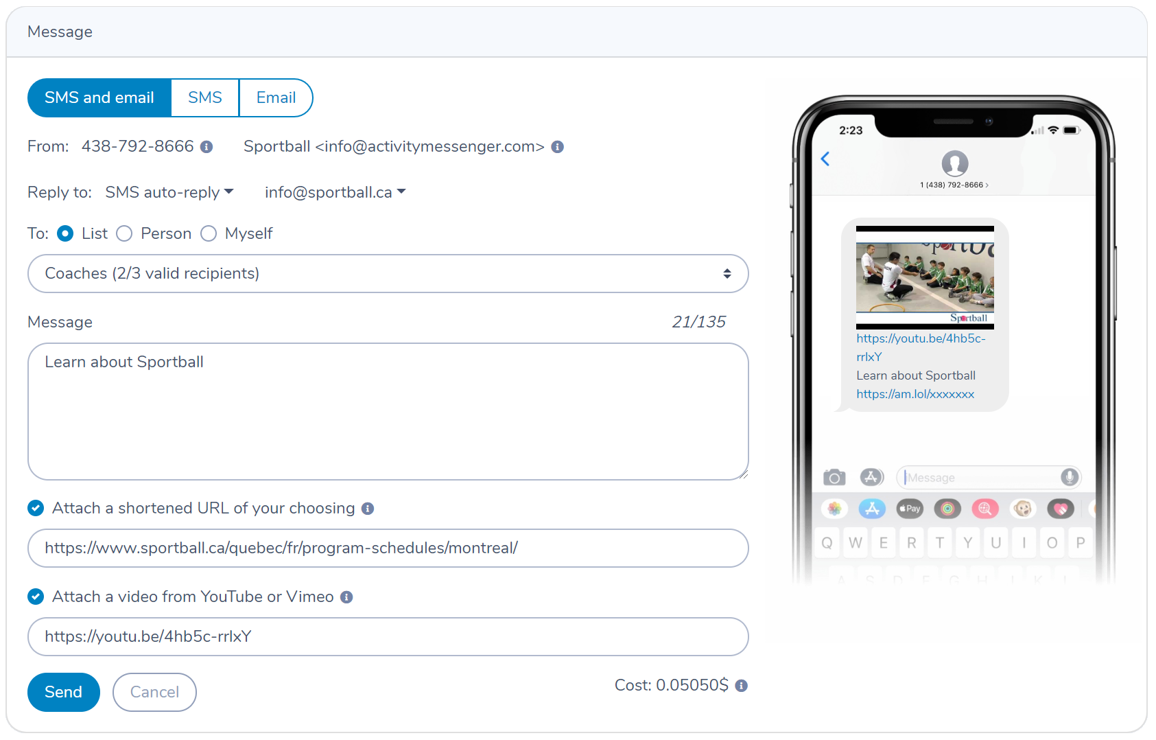 Activity Messenger - Send SMS and Email
