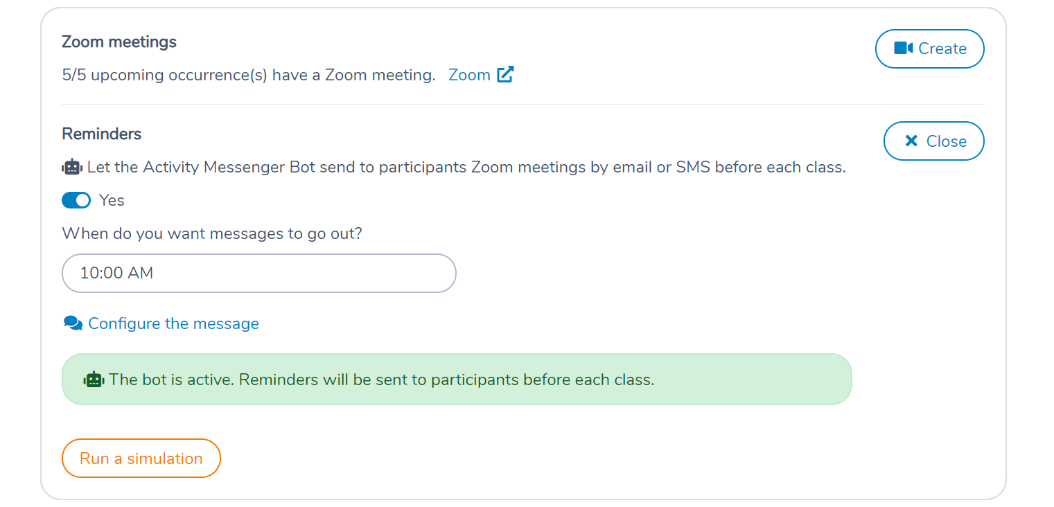 Configure the Activity Messenger automation bot to send Zoom class reminders 1 hour before the class
