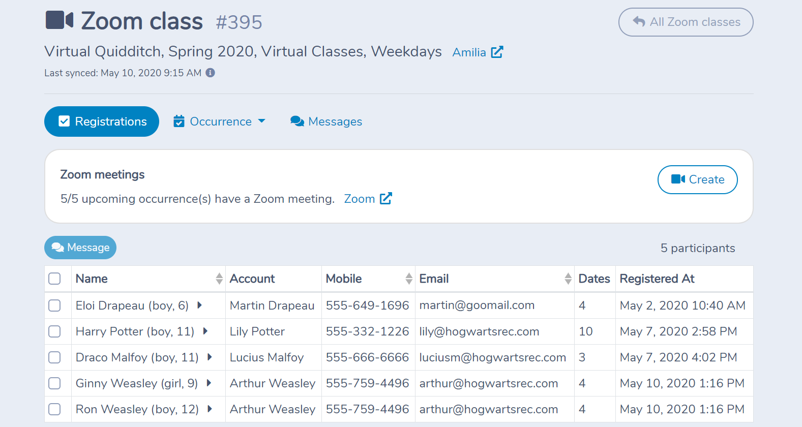 An Amilia Activity as a Zoom Class in Activity Messenger
