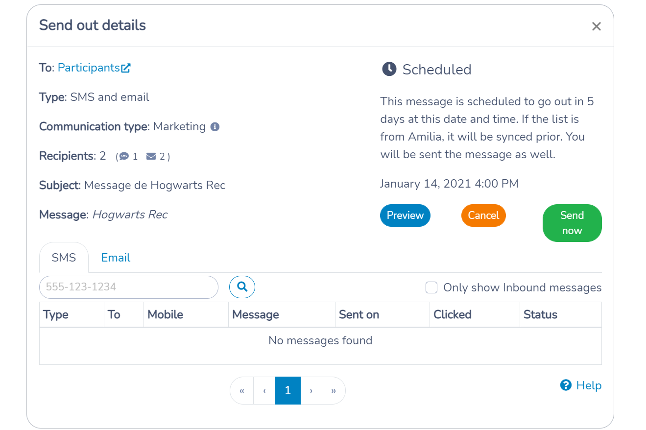 Managing a scheduled message in Activity Messenger