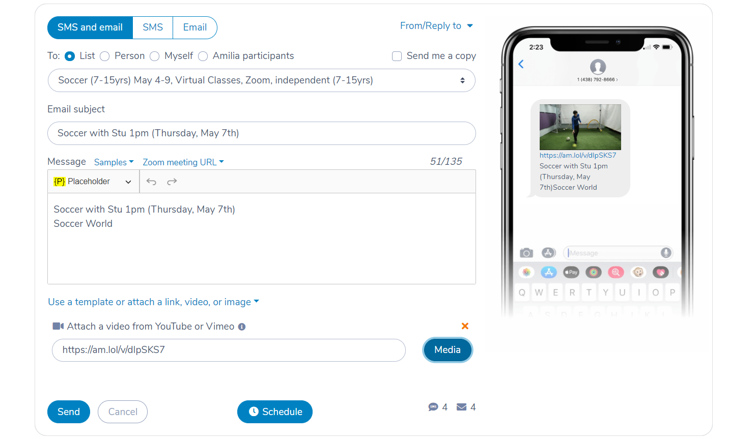 Sending a Zoom video recording by SMS or email in Activity Messenger