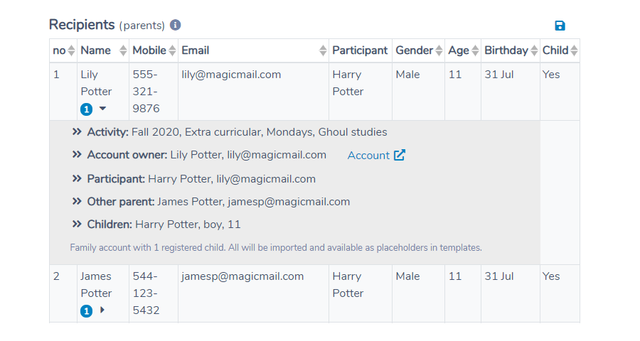 Importing both parents to email them both in Activity Messenger