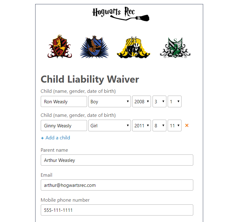 Youth form section of a waiver in Activity Messenger