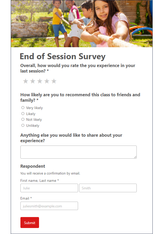 An Activity Messenger form is better than Google Forms. Built for Sports & Leisure.