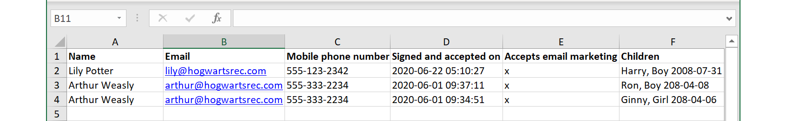 Exporting signed waivers in Excel with Activity Messenger