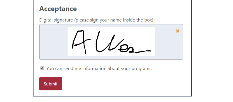 Eletronic signature captured when filling a liability waiver form in Activity Messenger