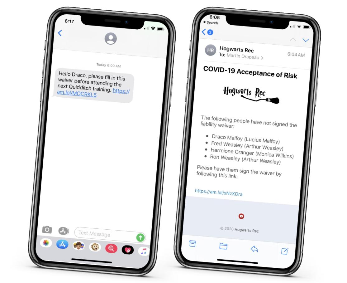 Left a reminder send by text message to sign the waiver. Right the list of non-signers sent to a coach. Activity Messenger liability waivers with eletronic signature.