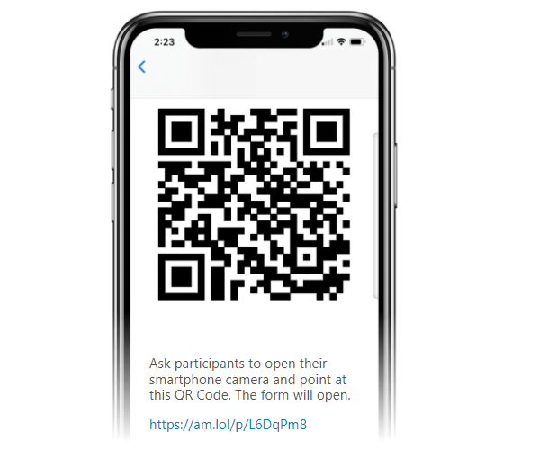With Activity Messenger you can send the QR code of a form by email or text message to a coach or instructor.