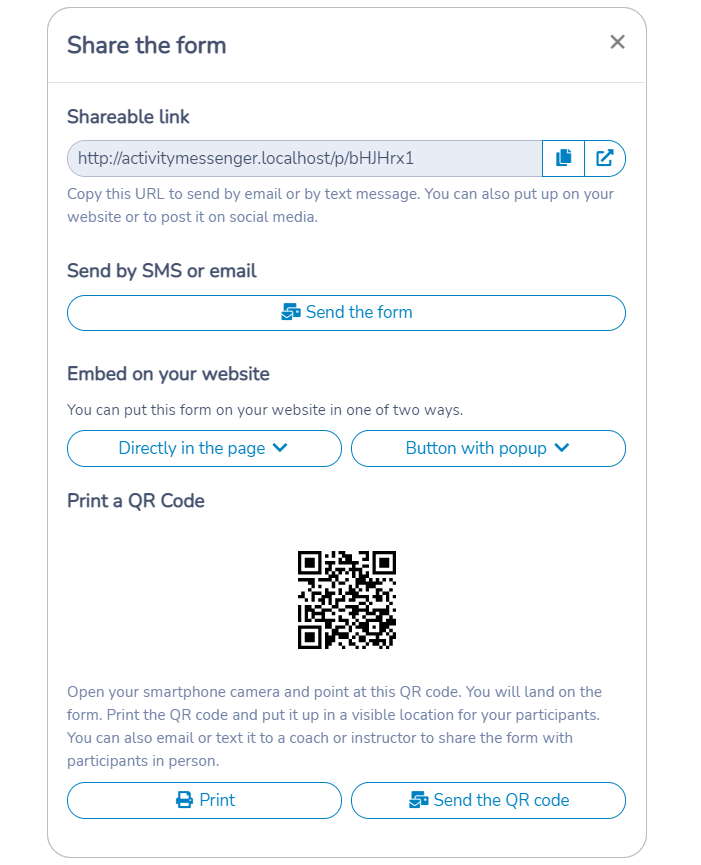 Sharing an Activity Messenger form via a unique URL, by embedding on your website, by printing a QR Code or by sending by email or by text message