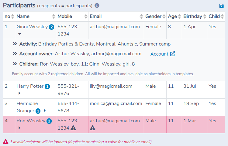 Importing family account information in Activity Messenger