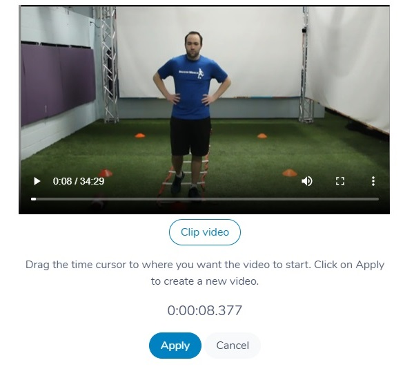 Clipping a video in Activity Messenger