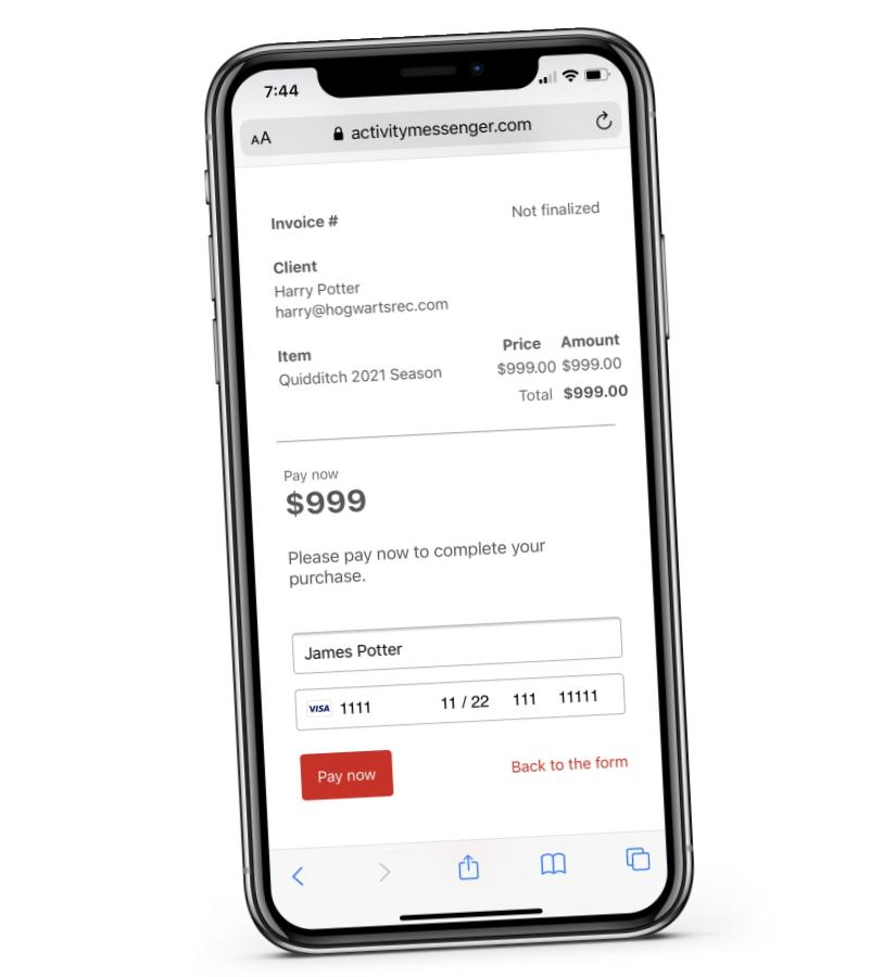 Activity Messenger payment forms are built to work on smartphones