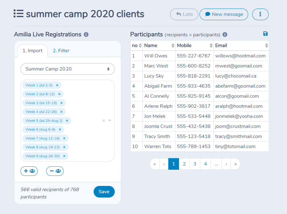 Importing parents and children from Amilia in Activity Messenger