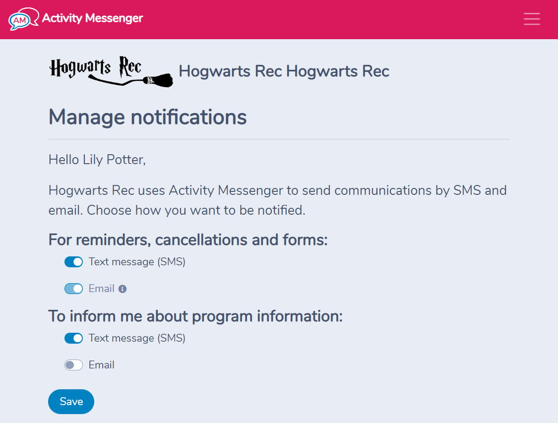 How to unsubscribe from emails and text messages received from an organization using Activity Messenger