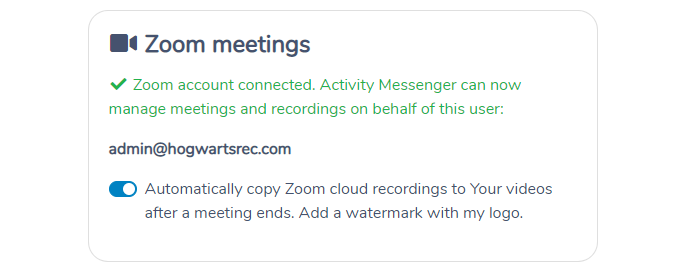 Connecting Zoom to Activity Messenger