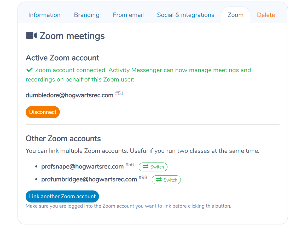 Connecting multiple Zoom accounts in Activity Messenger