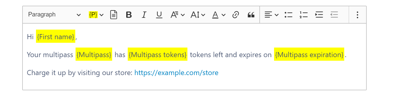 Using placeholders for multipass name, expiration date and tokens left to personalize an email or text message in Activity Messenger
