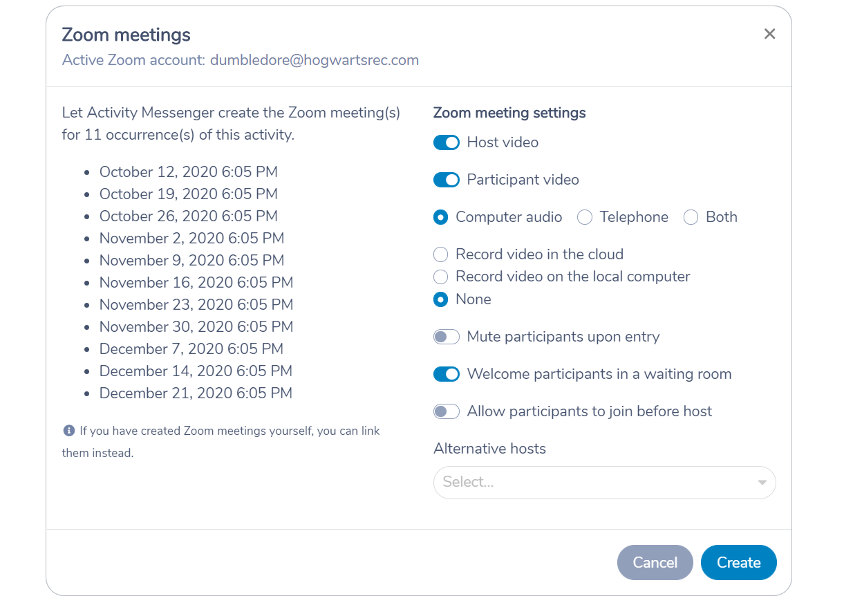 Let Activity Messenger create Zoom meetings from the Amilia activity schedule
