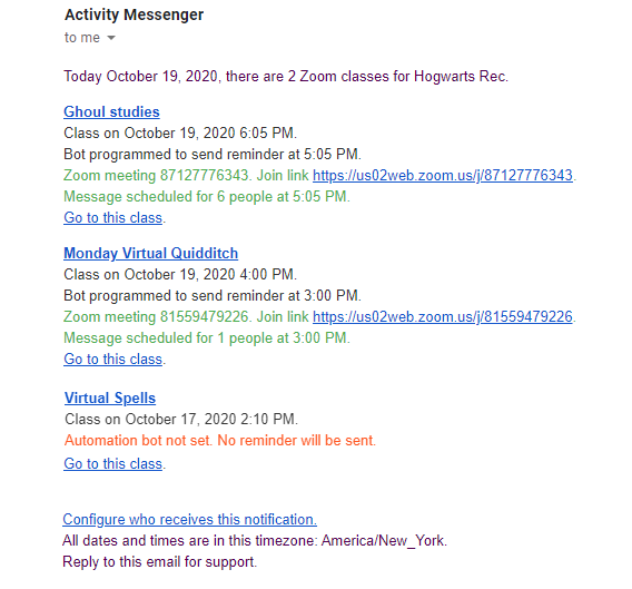 Zoom Classes Daily Digest sent by email to administrators by Activity Messenger