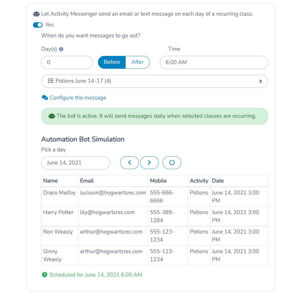 Class reminder automation configuration using Activity Messenger.