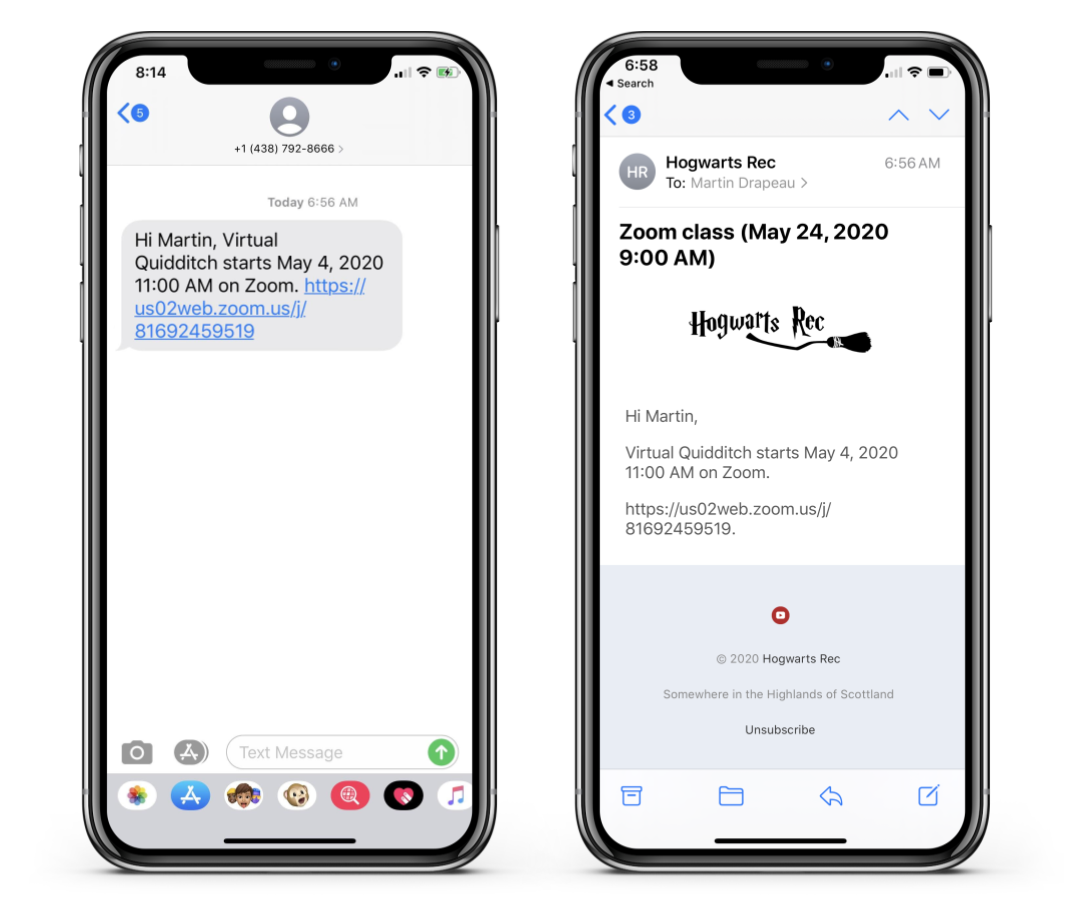 Sending automatic Zoom class reminders by email and SMS with Activity Messenger