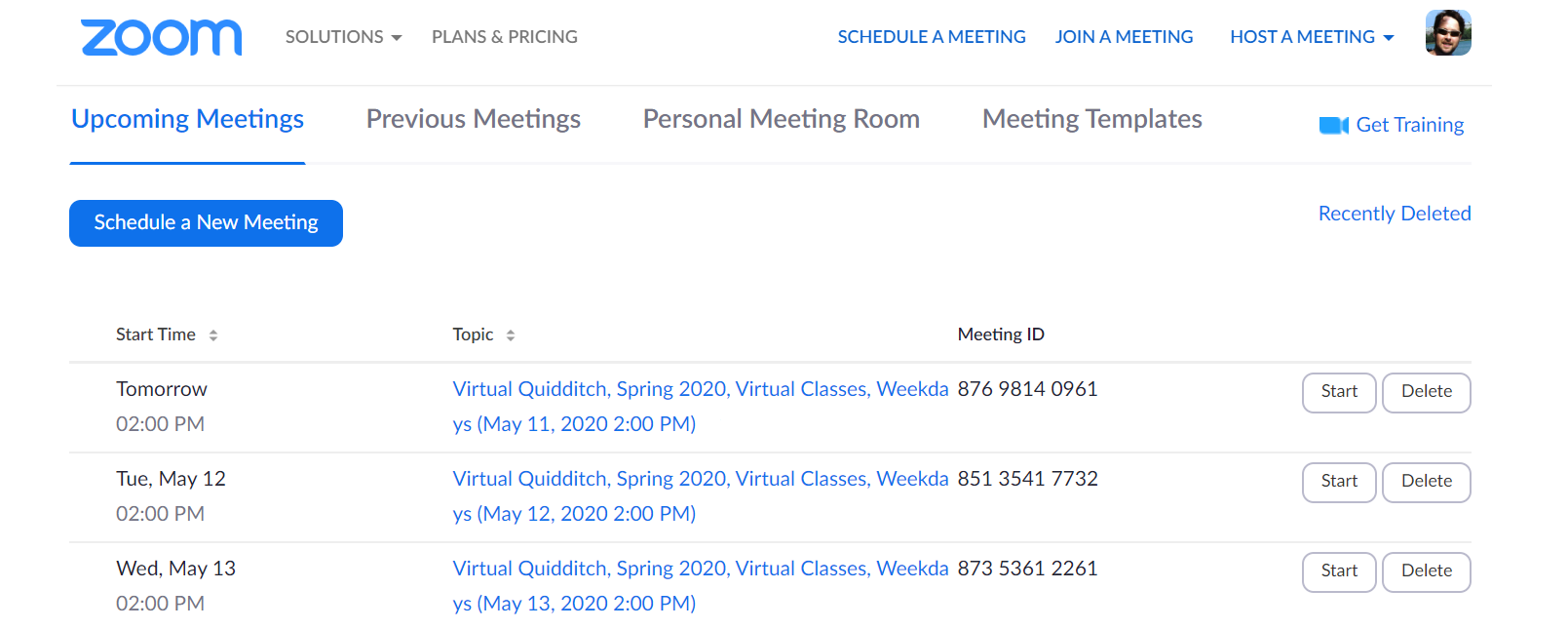 Zoom meetings created by Activity Messenger