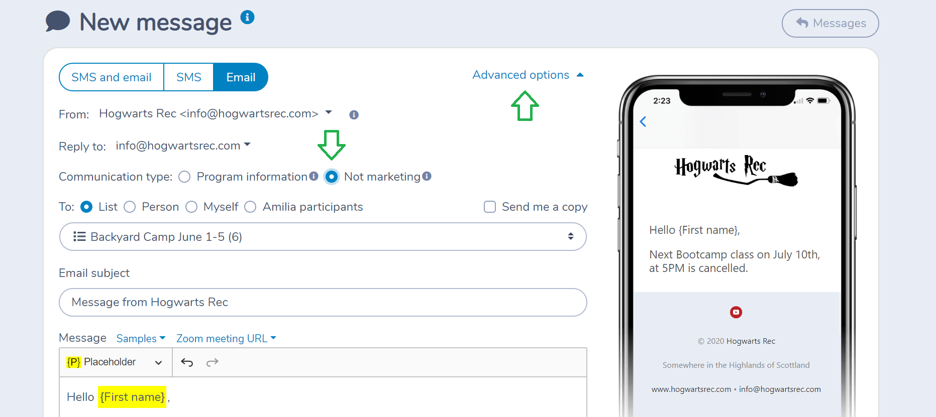 Sending a non-marketing email/SMS with Activity Messenger